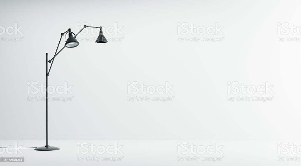 Interior background with black floor lamp 3d rendering stock photo