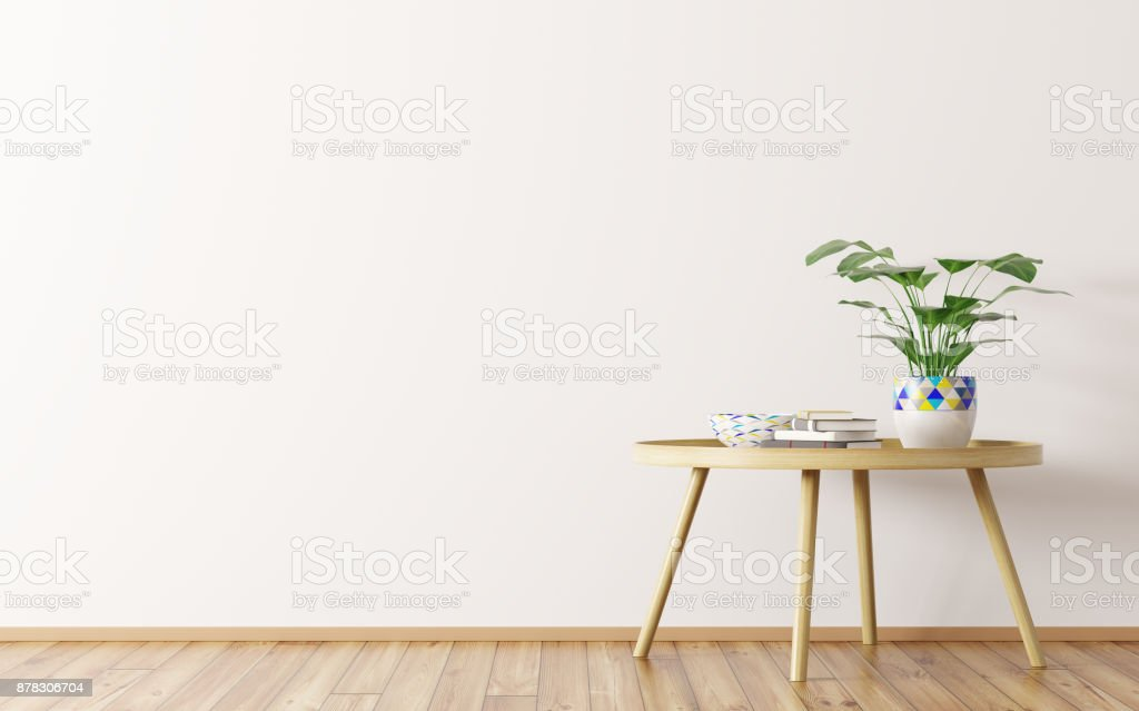 Interior background with coffee table 3d rendering stock photo