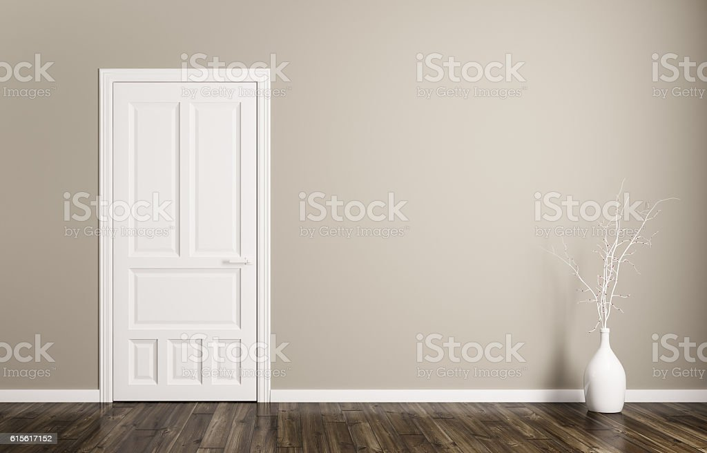 Interior background with door 3d rendering stock photo