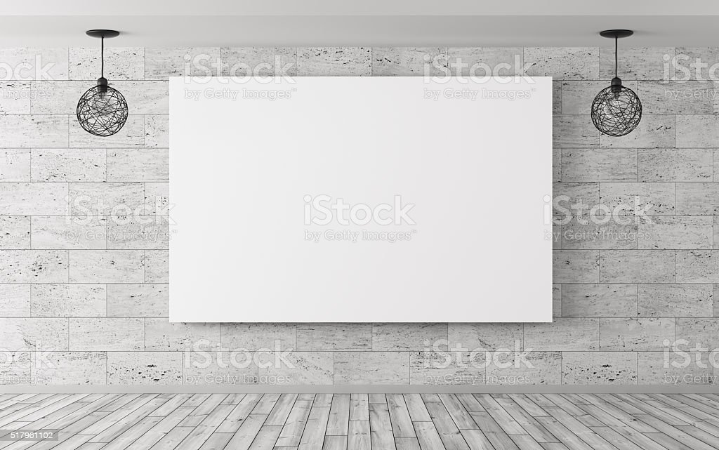 Interior background with poster and lamps 3d rendering stock photo