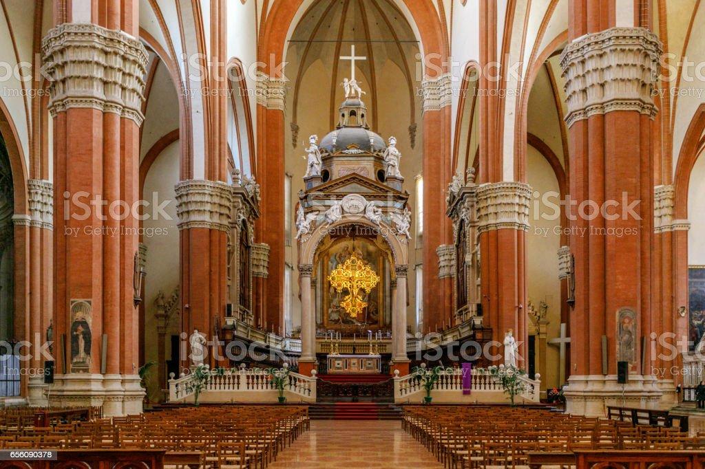 Interior, Basilica of San Petronio, Piazza Maggiore, Bologna, Italy stock photo