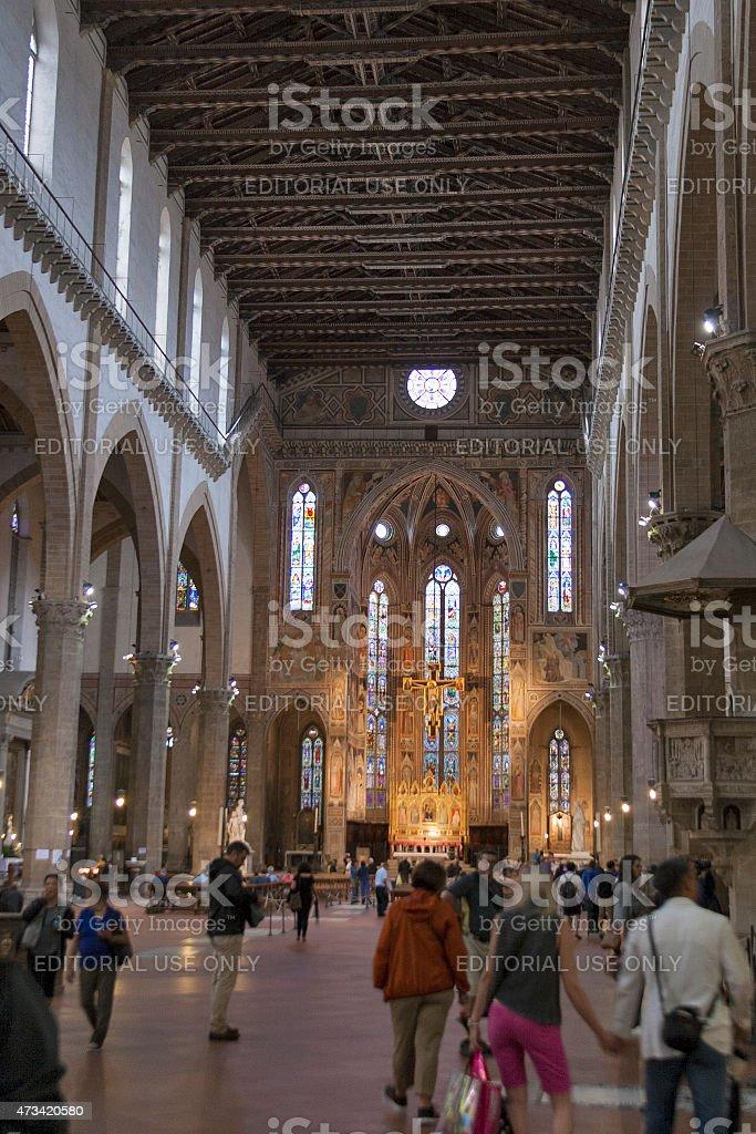 Interior Basilica of Santa Croce stock photo