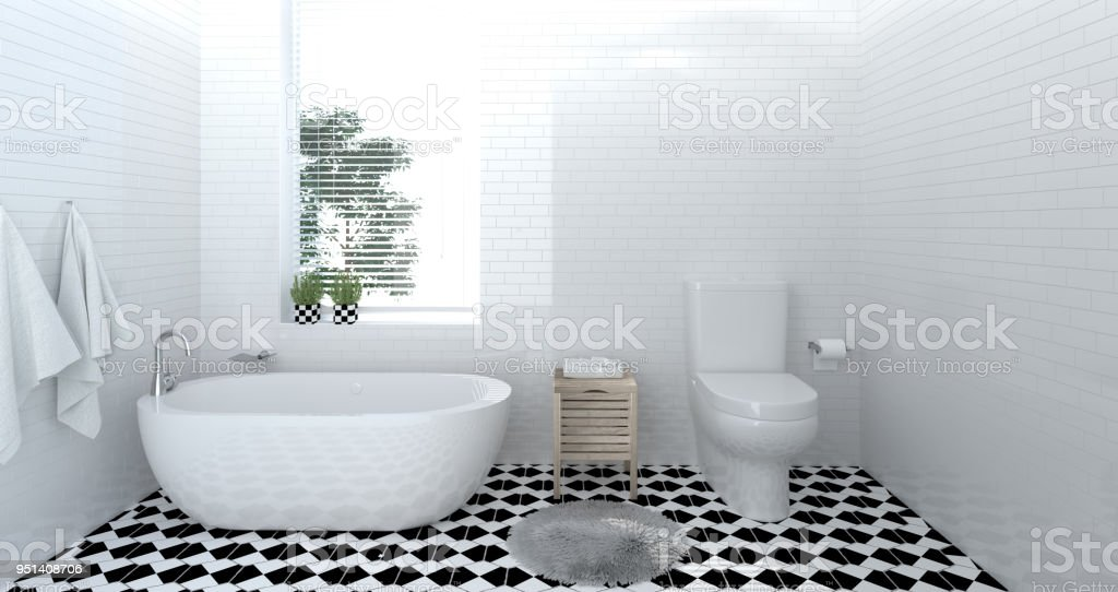 interior bathroom ,toilet,shower,modern home design 3D Illustration...