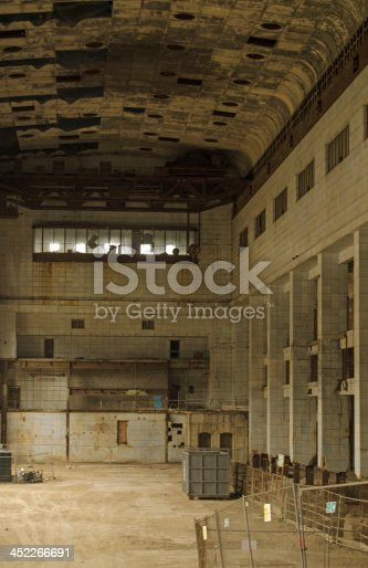 The huge, ruined turbine hall of Battersea Power Station, London.  Now disused and set to be redeveloped into shops and flats.