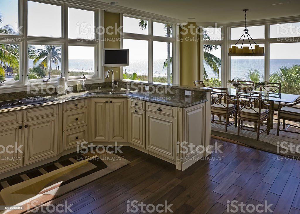Interior Beachhouse Kitchen Diningroom With Beach View stock photo