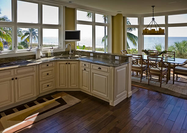 Interior Beachhouse Kitchen Diningroom With Beach View stock photo