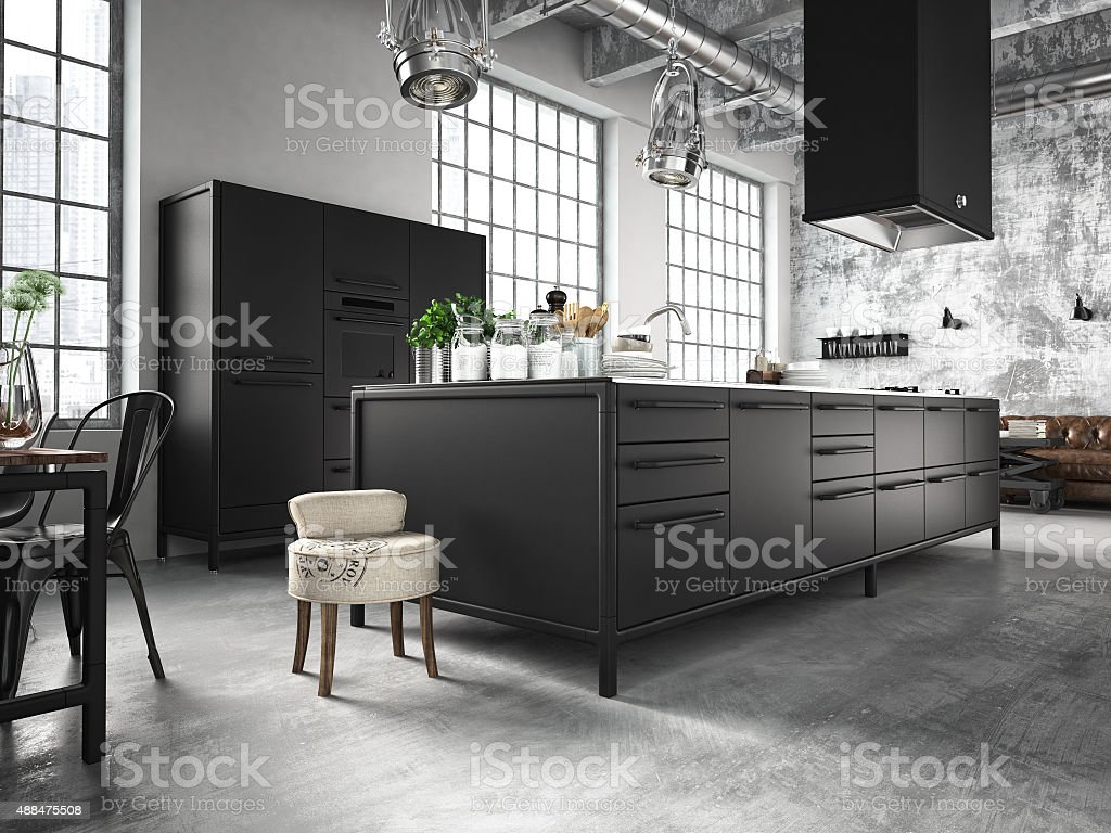 interior, beautiful kitchen. 3d rendering stock photo