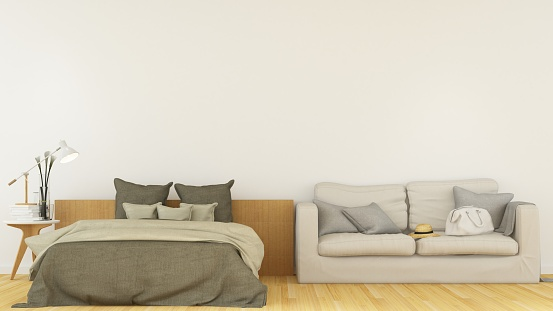 Interior Bedroom Space In Hotel And Wall Decoration Background 3d Rendering Stock Photo Download Image Now Istock