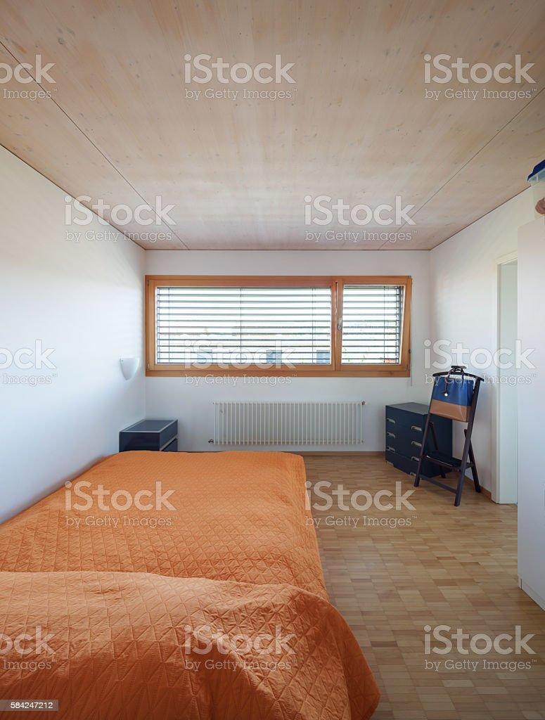 Interior, bedroom with big window stock photo