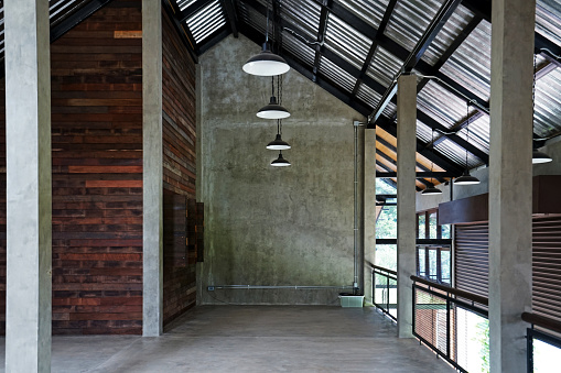 made of concrete loft cement and wooden panels