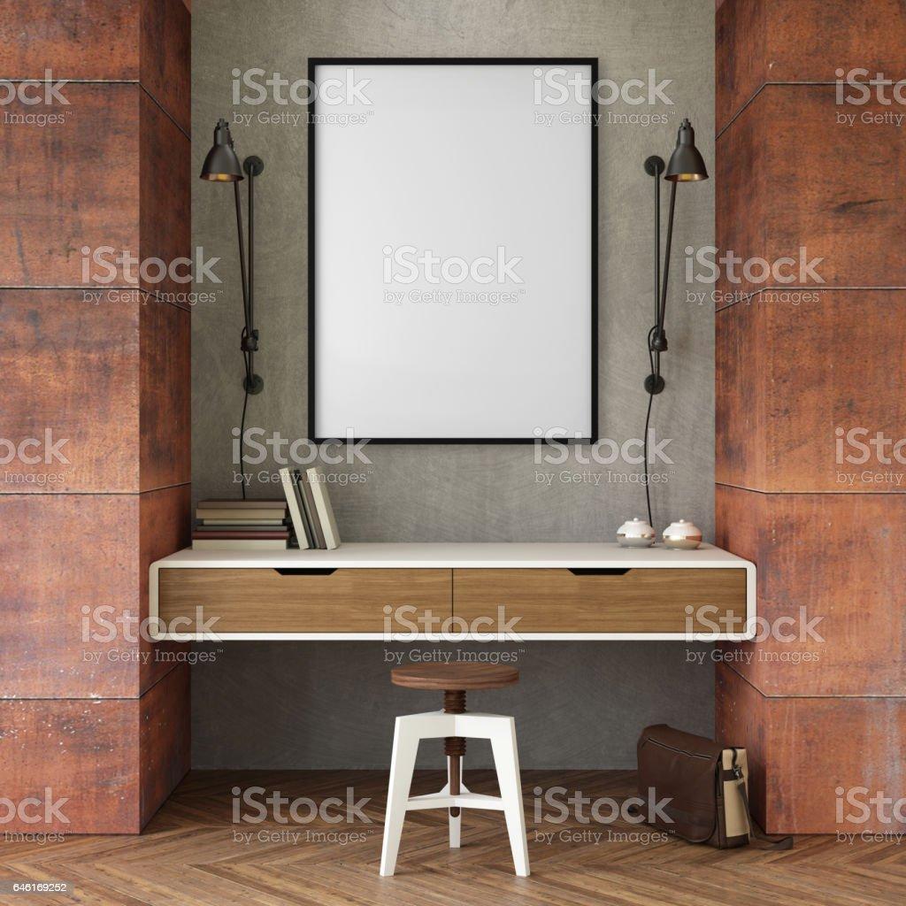 mur de bureau d'affaires intérieur avec cadre photo - Photo de Affaires libre de droits