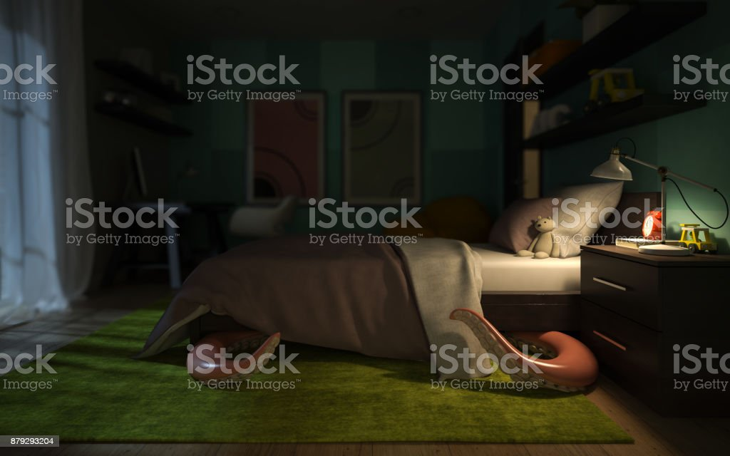 Interior children's room with a tentacular monster under the bed 3D rendering stock photo