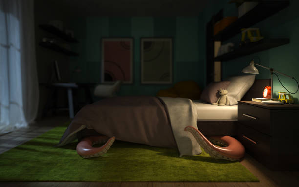 interior habitación niños con un monstruo tentaculares bajo la representación 3d de la cama - monstruo fotografías e imágenes de stock
