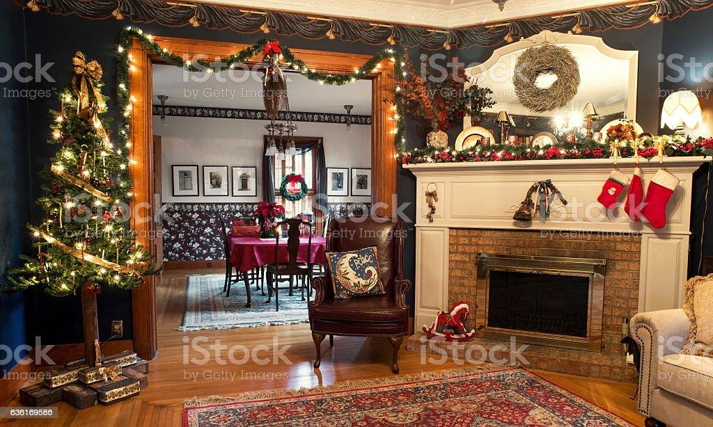 Interior Christmas Living & Dining Rooms photo libre de droits