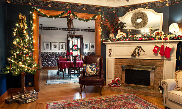 Interior Christmas Living & Dining Rooms - Photo