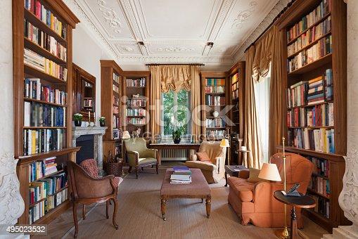 istock Interior, classical library 495023532