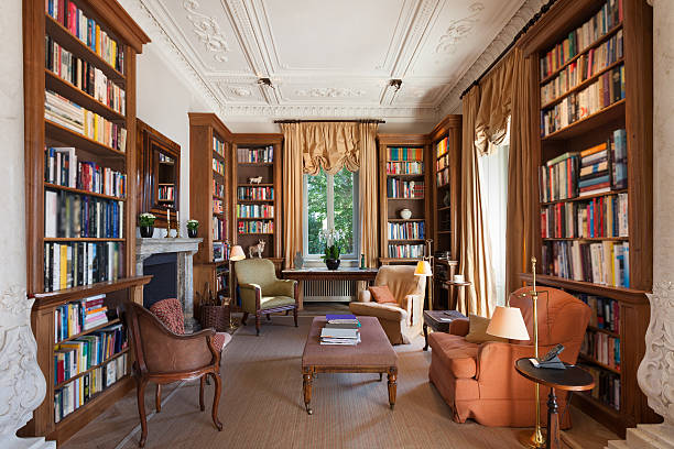 Interior, classical library Interiors, classical library in a period mansion classical style stock pictures, royalty-free photos & images