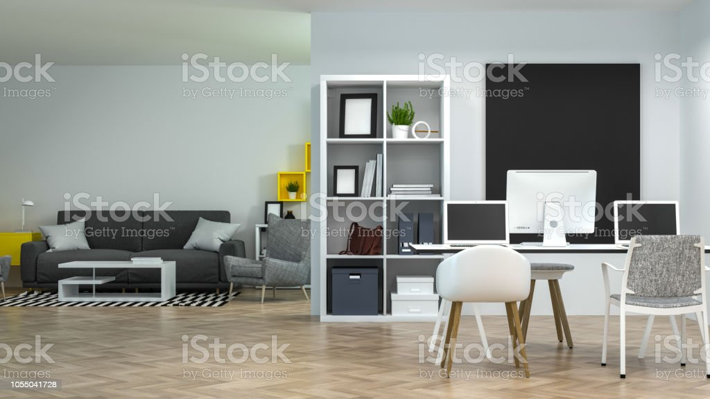Interior Co Working Environments Decoration Living Room Lounge With Sofa And Armchair Model Home Office Meeting Rooms Have Computers And Notebooksonline Business 3d Rendering Work At Home Stock Photo Download Image