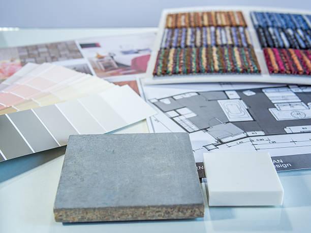 cor do interior amostras plano com cimento bordo, carpete e furn - mood board - fotografias e filmes do acervo