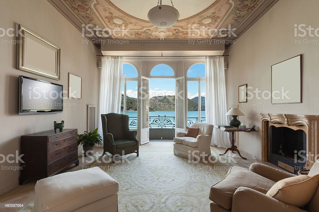 Interior, comfortable living room stock photo
