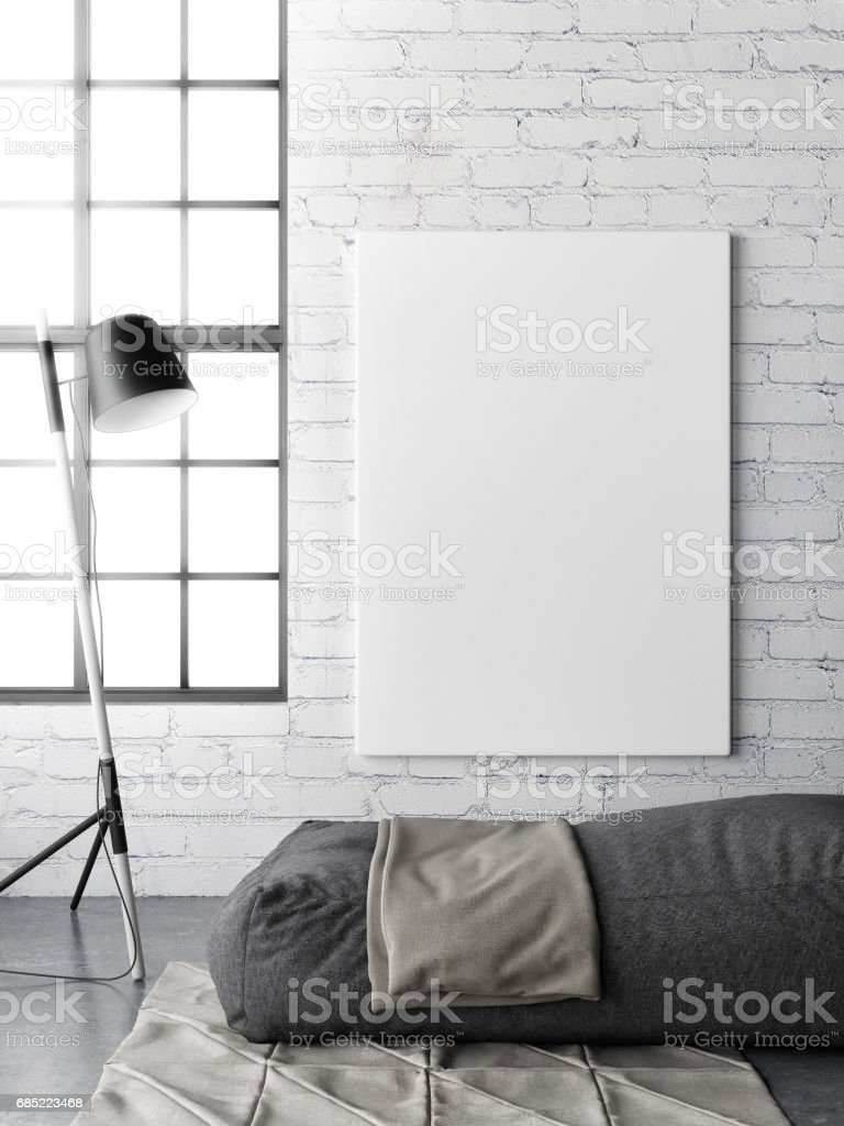 Interior concept loft with white brick and poster stock photo