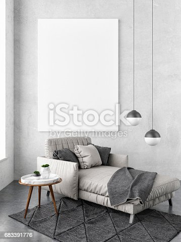 istock Interior concept mock up poster, sofa hipster background 683391776