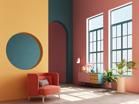 istock Interior concept of memphis design colorful, Armchair with console and prop. 3d render 1177580263