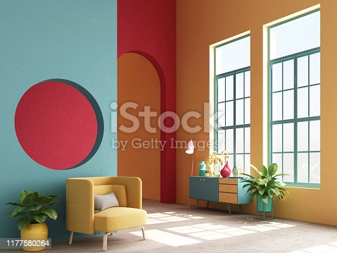 istock Interior concept of memphis design colorful, Armchair with console and prop. 3d render 1177580264