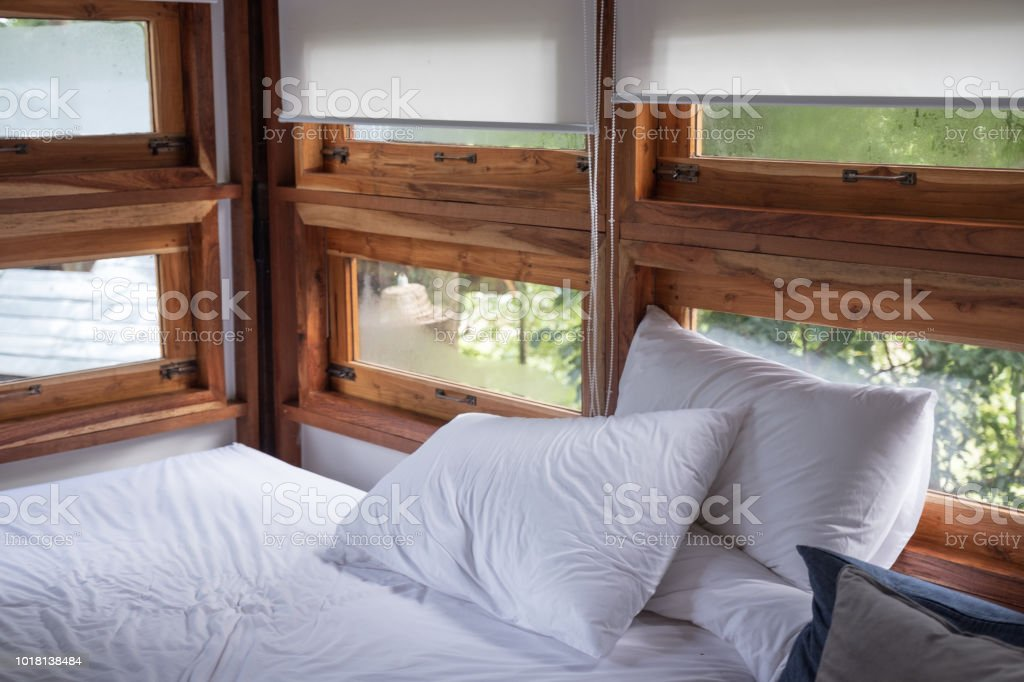 Interior Cozy Bedroom In Wooden House At Morning Stock Photo Download Image Now Istock