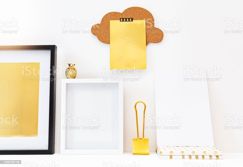 Interior Decor Accessories Collection In Tones Of Gold Stock Photo