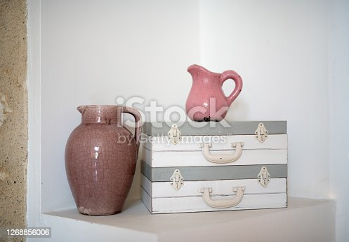 istock Interior decor with two pink pitchers 1268856006