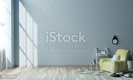 1095381860istockphoto interior decoration armchair in the living room 3D Rendering,Minimalist room interior,Simple modern living room style. 807190800