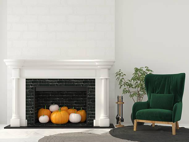 interior decoration for halloween with classic fireplace - kamin weiß stock-fotos und bilder