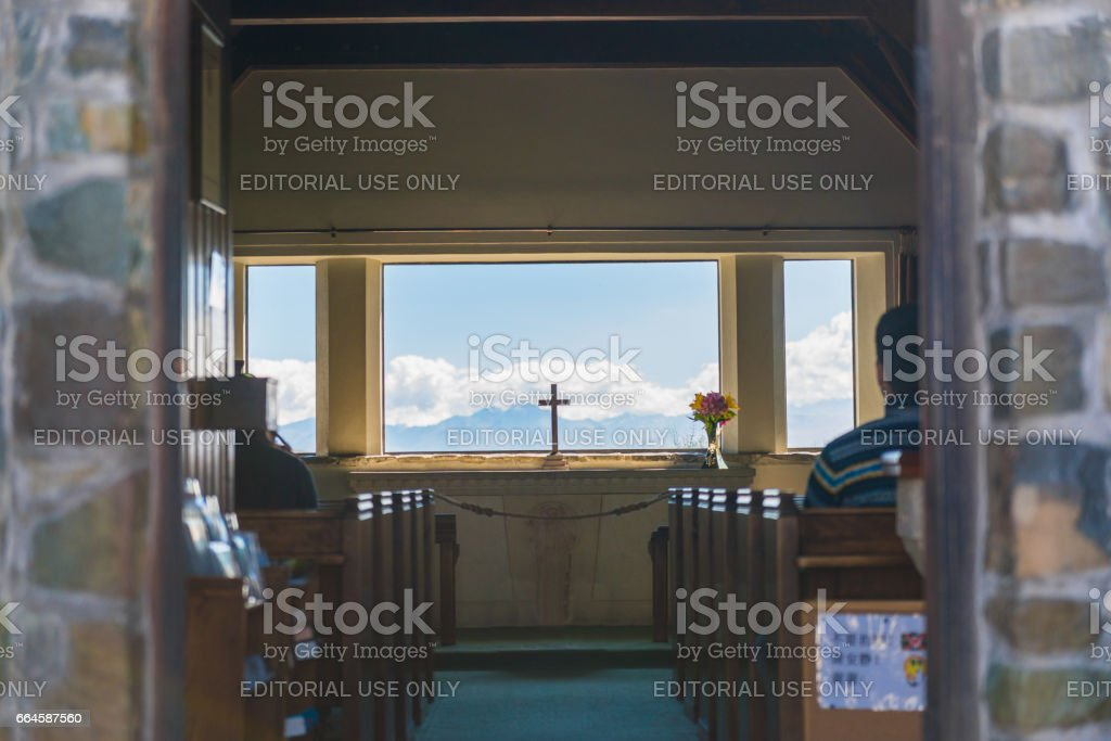 Interior decoration of Church of The Good Shepherd on the lakeside of Lake Tekapo. stock photo