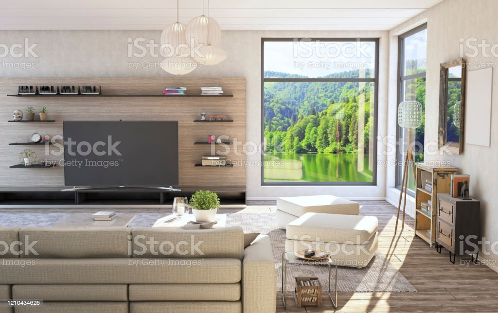 Interior Decoration Of The Living Room With Tv Unit Stock Photo Download Image Now Istock