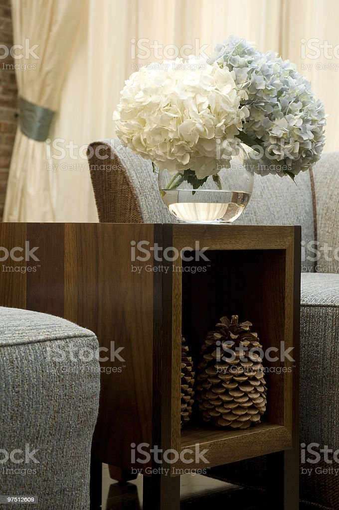 Interior decoration Pine cones and Flowers royalty-free stock photo