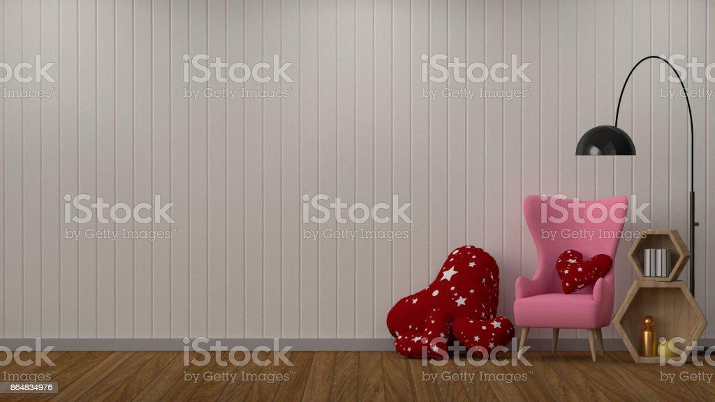 Roze Decoratie Woonkamer : Inrichting kamer drendering woonkamer decoratie roze leunstoel