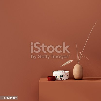 Ceramic and clay vase with wheat spikes  on a background of a teracotta wall / 3D illustration, 3d render