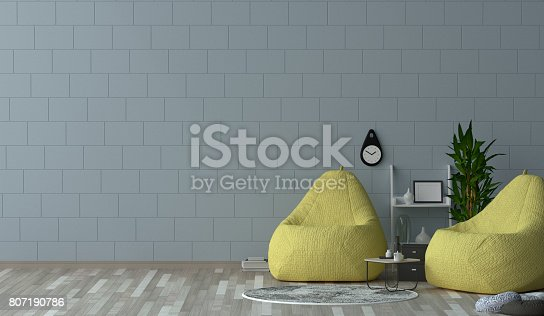 1095381860istockphoto interior decoration yellow armchair in the living room 3D Rendering,Minimalist room interior,Simple modern living room style. 807190786