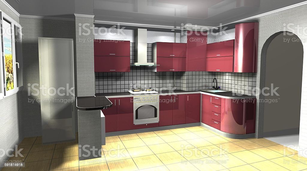 Interior Design 3d Rendering Modern Kitchen Is Connected With