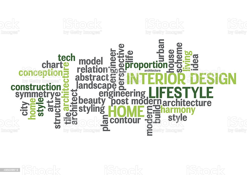 Interior Design And Lifestyle Word Cloud Concept Isolated Stock Photo  More Pictures of