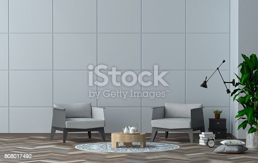 1095381860istockphoto interior design and simple furniture set 3D illustration modern interior design with gray armchair in Office room. 808017492