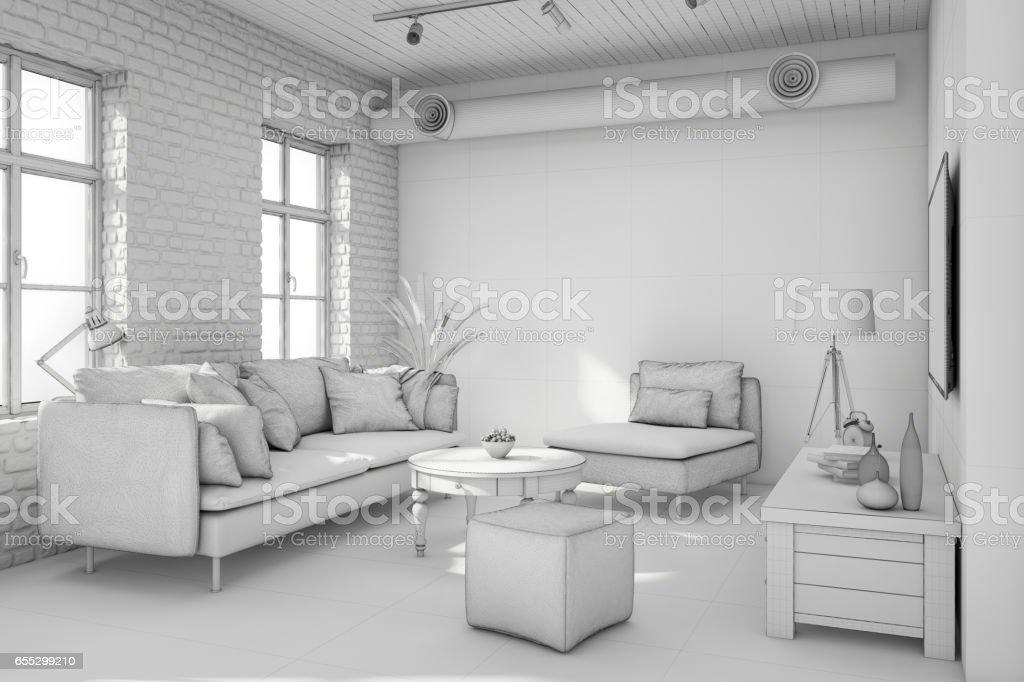 Interior Design Apartment White Template Stock Photo