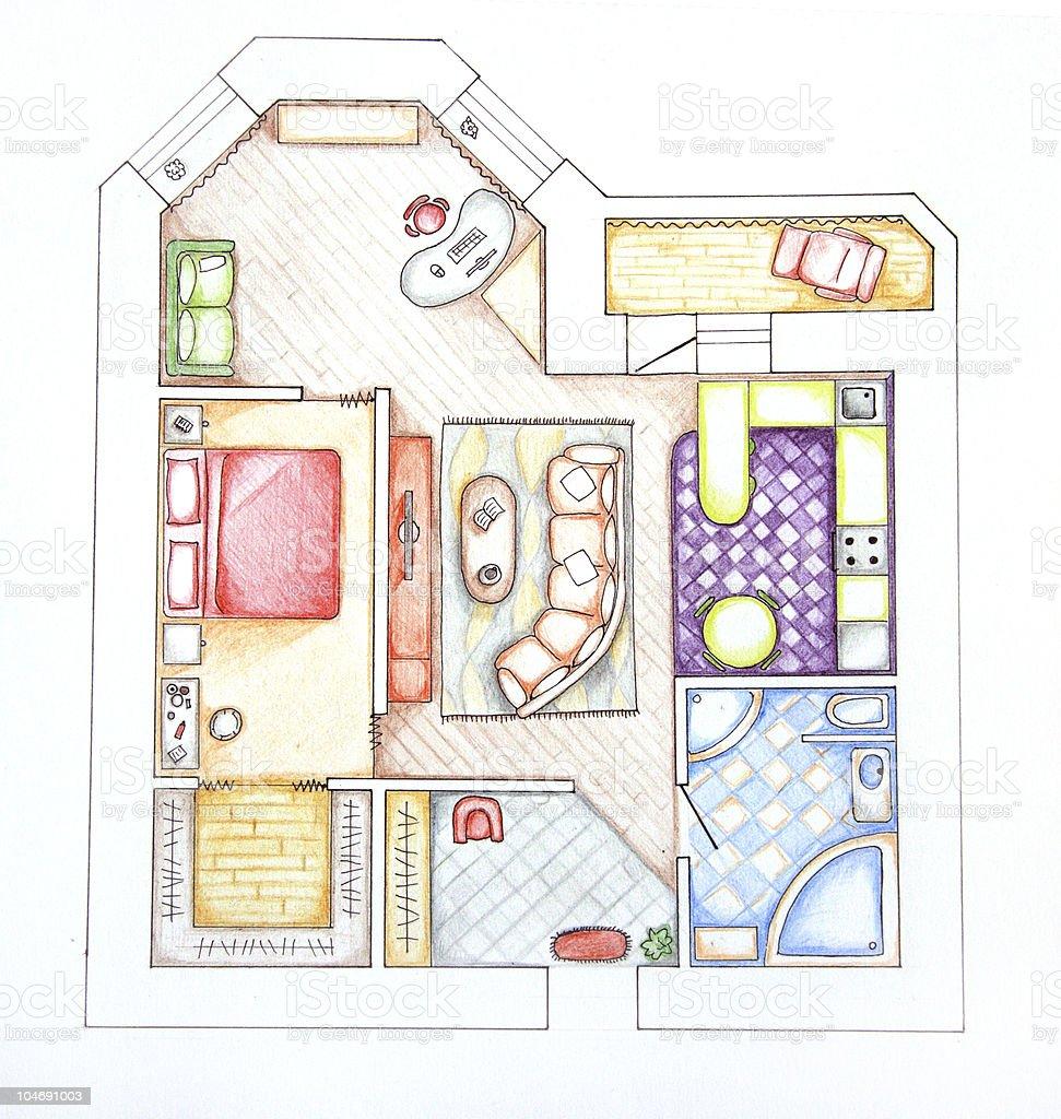 Interior design apartments - top view. Sketch handwork royalty-free stock photo