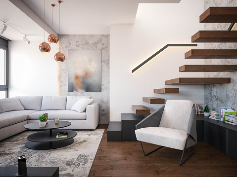 Interior Design. Architecture. Computer generated image of living room. Architectural Visualization. 3D rendering.