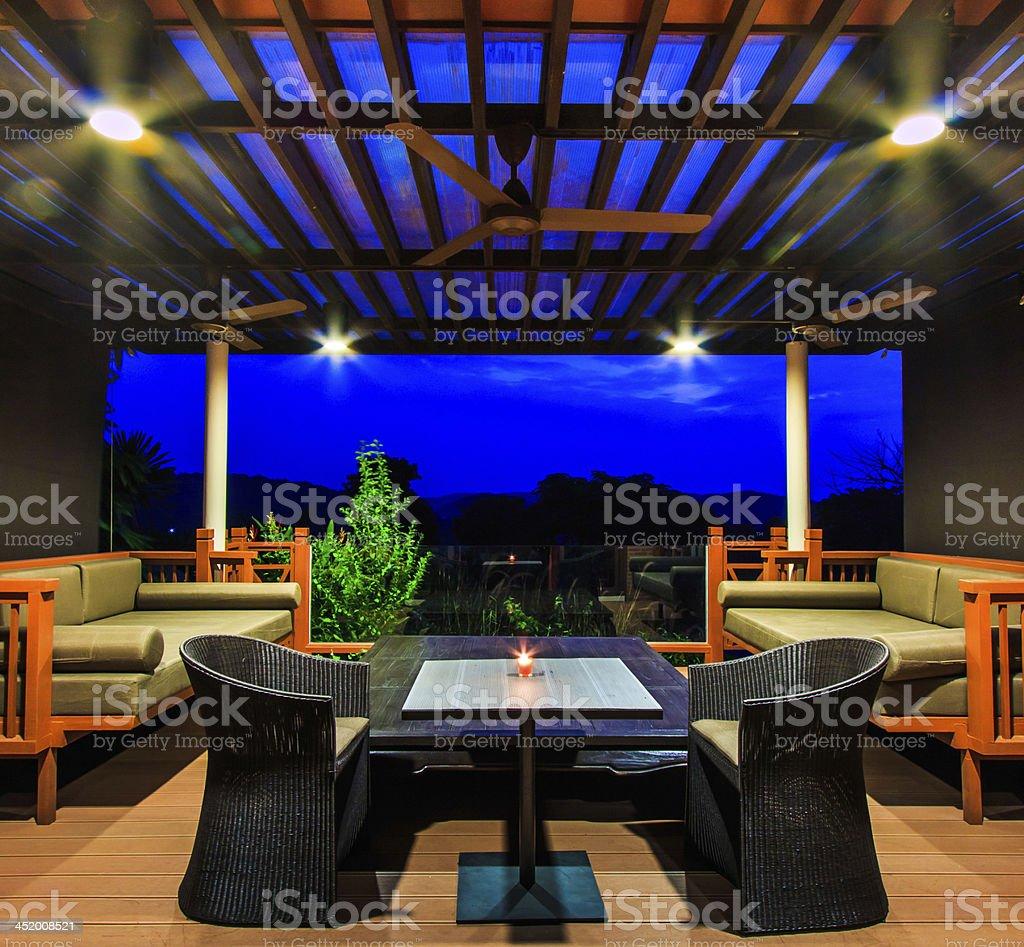 Interior design: Beautiful modern terrace lounge Morning stock photo
