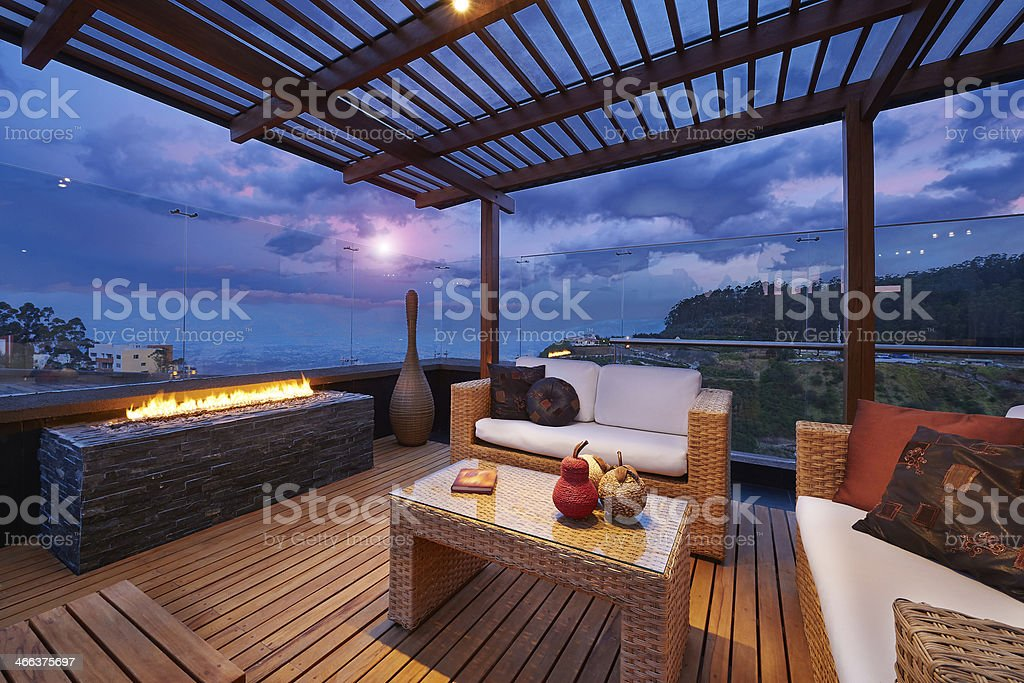 Interior design: Beautiful modern terrace lounge with pergola at stock photo