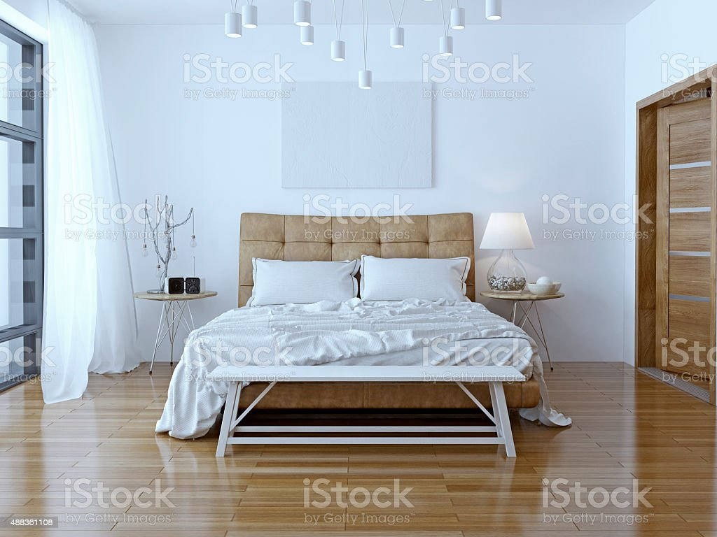 Interior design: Big modern Bedroom stock photo