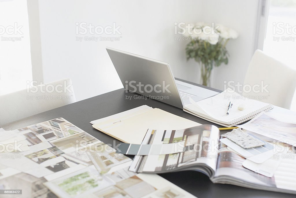 Interior design books on table stock photo