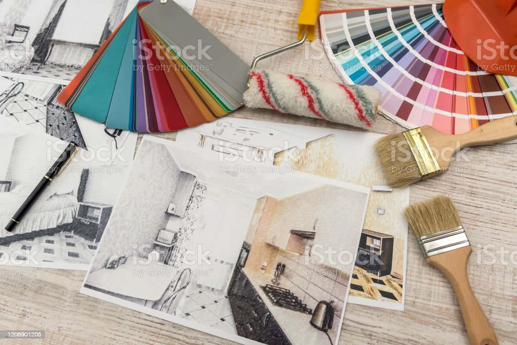 Interior Design Concept Apartment Sketch With Color Palette And Tools Stock Photo Download Image Now Istock